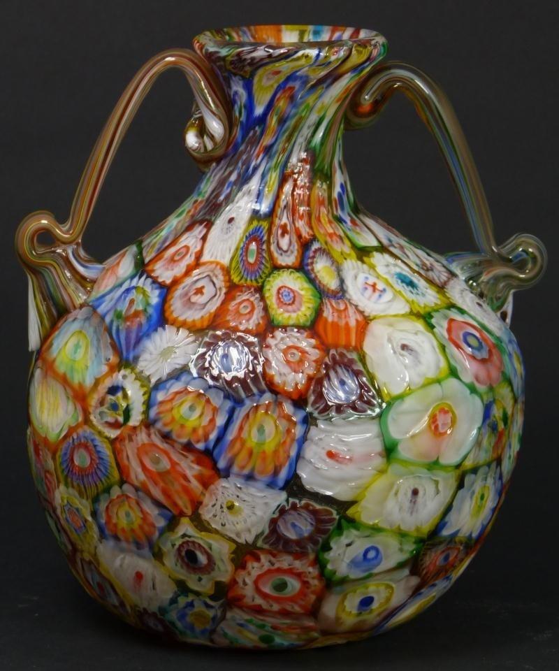 7: MURANO ART GLASS MILLEFIORI ART GLASS VASE