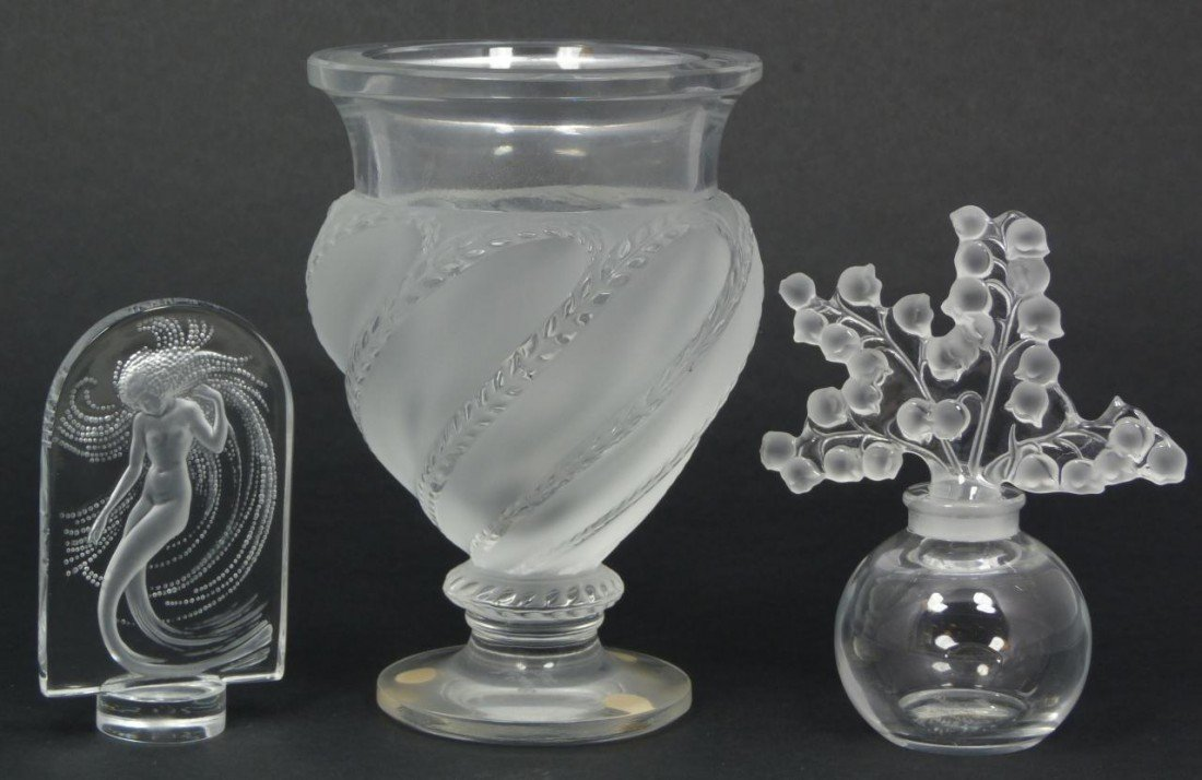12: 3PCS LALIQUE FRENCH CRYSTAL ITEMS