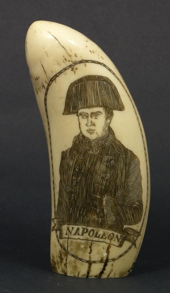 18: NAPOLEON SCRIMSHAW DATED 1815 DOUBLE CARVING