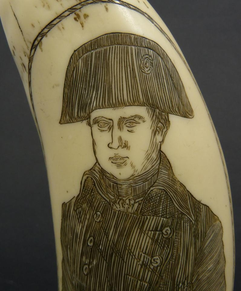 18: NAPOLEON SCRIMSHAW DATED 1815 DOUBLE CARVING - 3