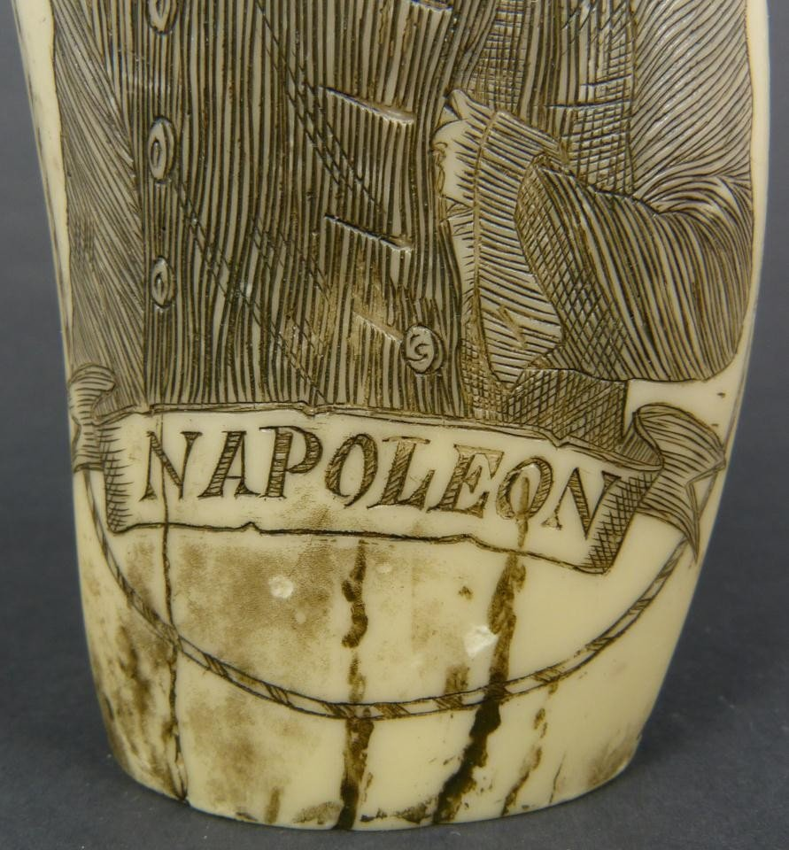 18: NAPOLEON SCRIMSHAW DATED 1815 DOUBLE CARVING - 4