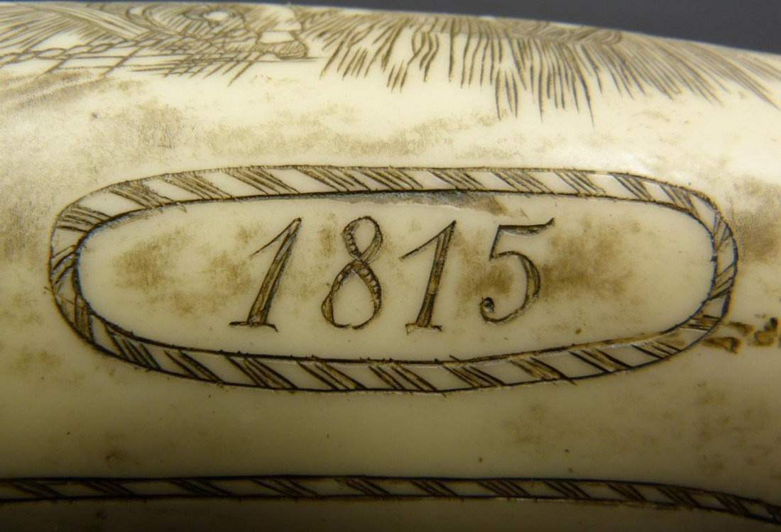 18: NAPOLEON SCRIMSHAW DATED 1815 DOUBLE CARVING - 6