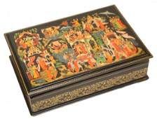 210: HAND PAINTED RUSSIAN FAIRY TALES LACQUER BOX
