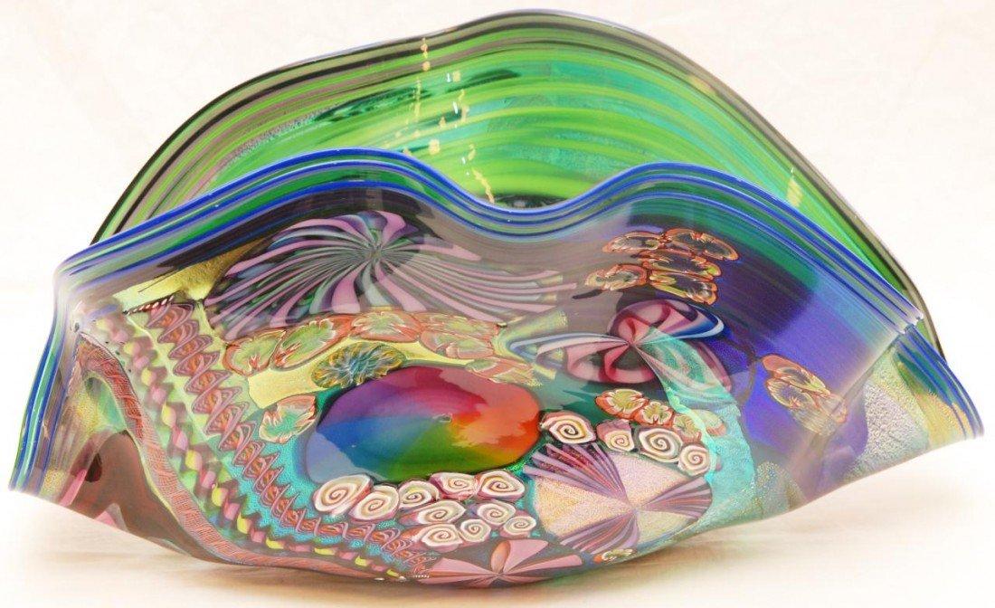 53: JAMES NOWAK ART GLASS CLAMSHELL SCULPTURE