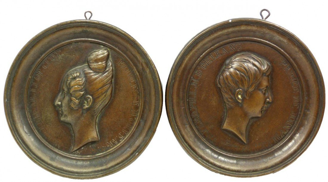4: Pr ANTIQUE FRENCH BRONZE MEDALLION WALL PLAQUES
