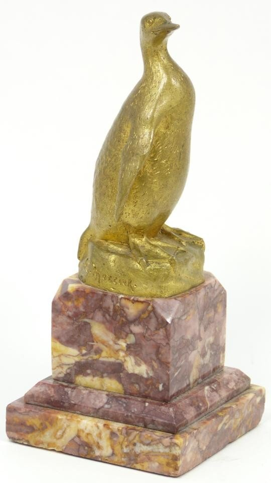 5: ANTIQUE FRENCH BRONZE OF PENGUIN ON BASE SIGNED