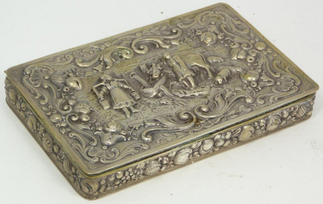 8: ANTIQUE EUROPEAN 800 SILVER REPOUSSE HINGED BOX