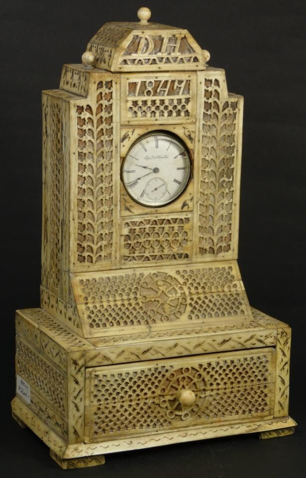 10: RUSSIAN KHOLMOGORY BONE & IVORY POCKET WATCH STAND