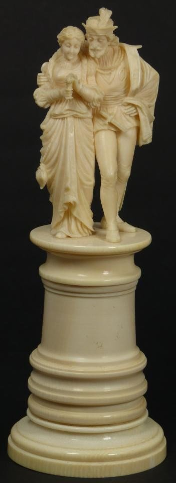 11: CONTINENTAL IVORY COURTING COUPLE FIGURE