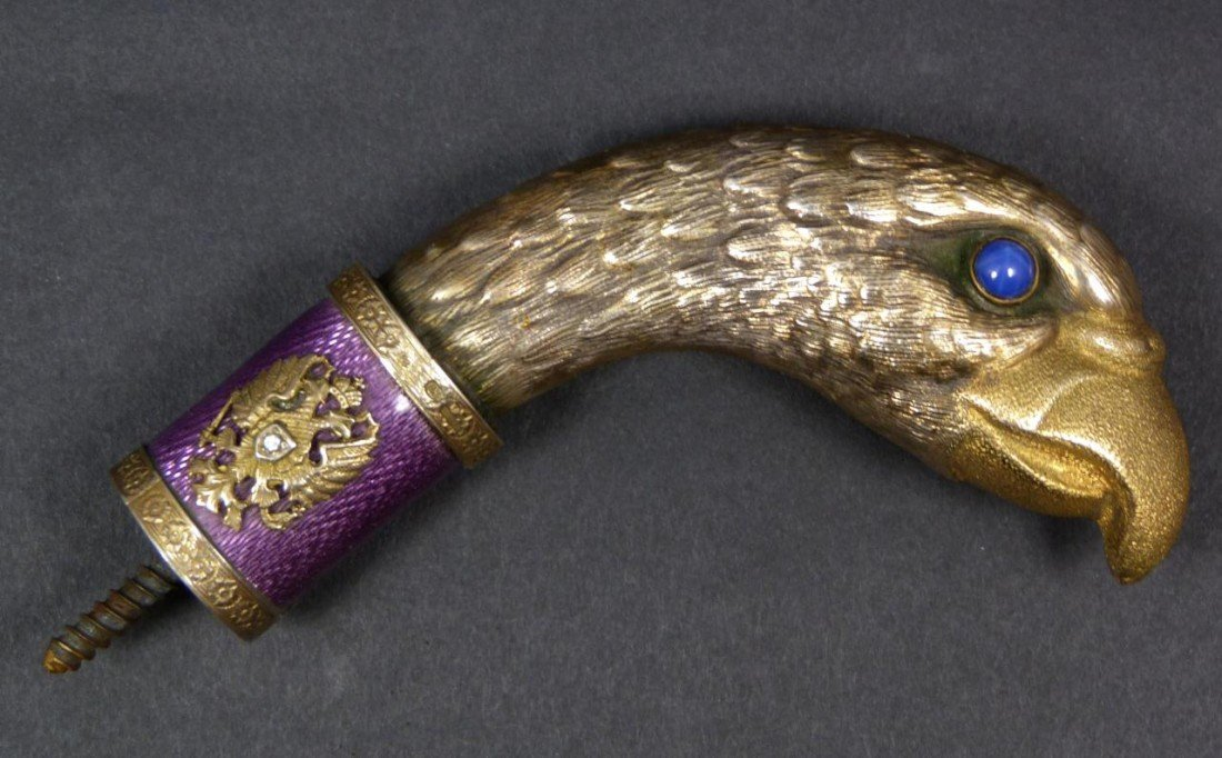 18: IMPERIAL RUSSIAN EAGLE SILVER & GUILLOCHE HANDLE