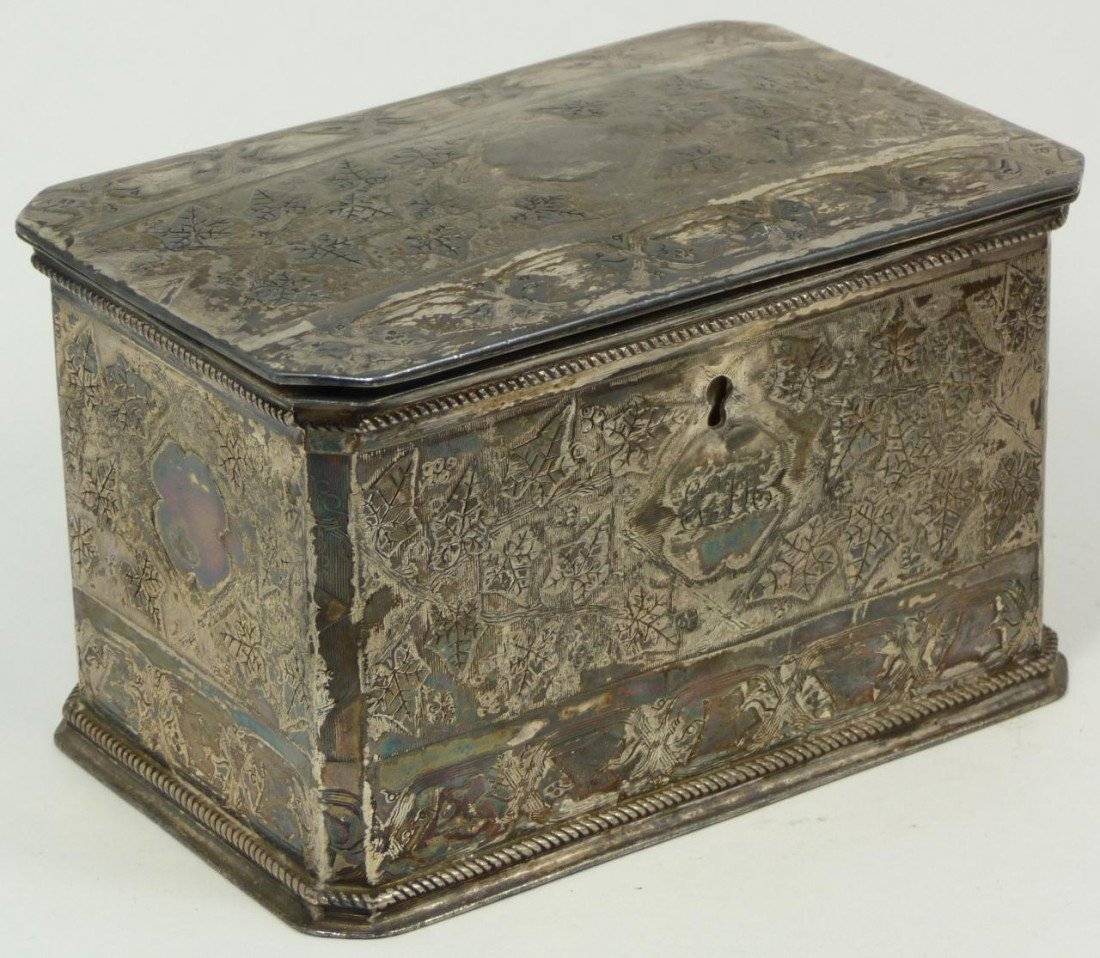 7: ANTIQUE ENGLISH SILVERPLATE LEAVES TEA CADDY