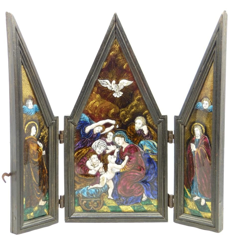 14: ANTIQUE HAND PAINTED ENAMEL ON COPPER TRIPTYCH