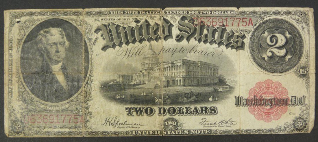15: SERIES 1917 A $2 TWO DOLLAR BILL UNITED STATES