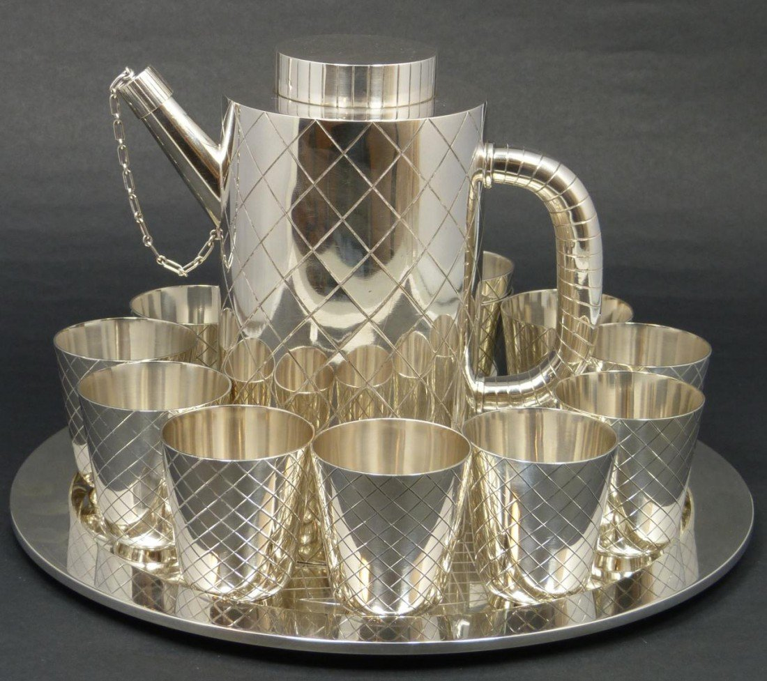 127: GEORG JENSEN STERLING SILVER 14 PC COCKTAIL SET