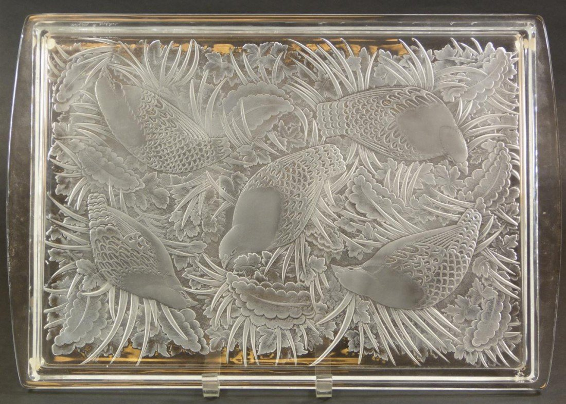 17: LALIQUE FRANCE FROSTED CRYSTAL PERDRIX TRAY