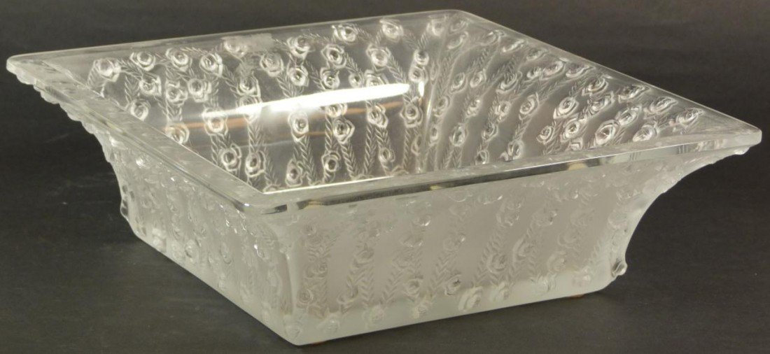 18: LALIQUE FRENCH CRYSTAL ROSES SQUARE BOWL