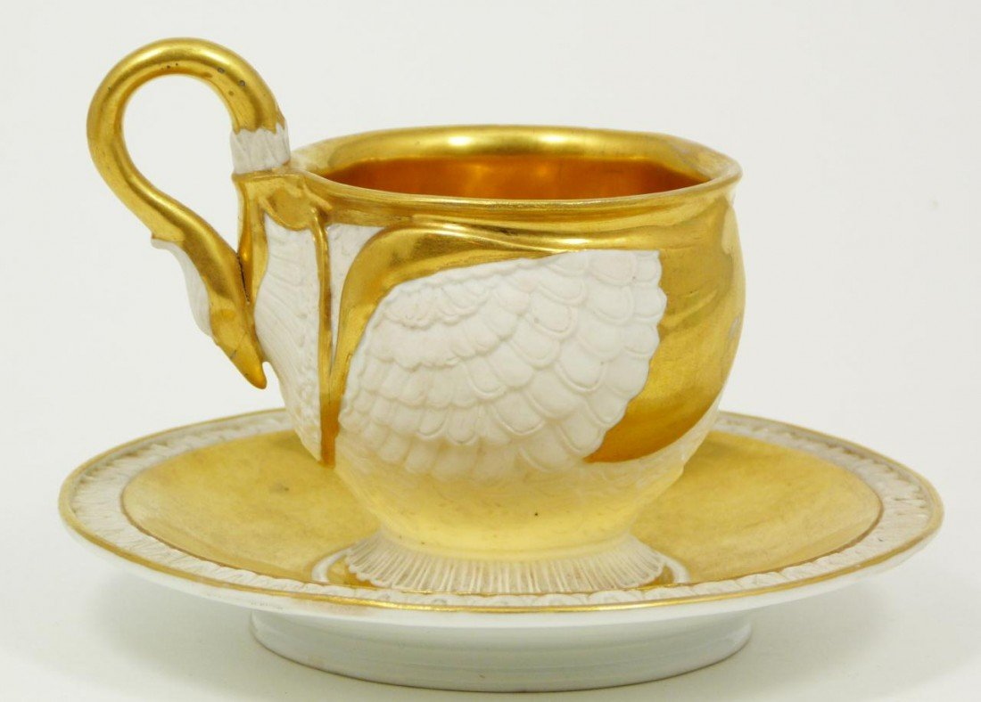 47: EXQUISITE AND RARE MEISSEN SWAN CUP & SAUCER SET