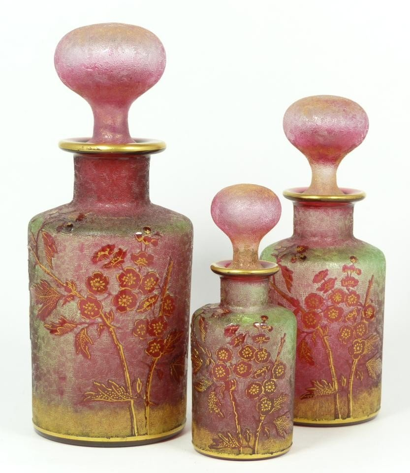 56: 3 DAUM NANCY ENAMELED CAMEO GLASS PERFUME BOTTLES
