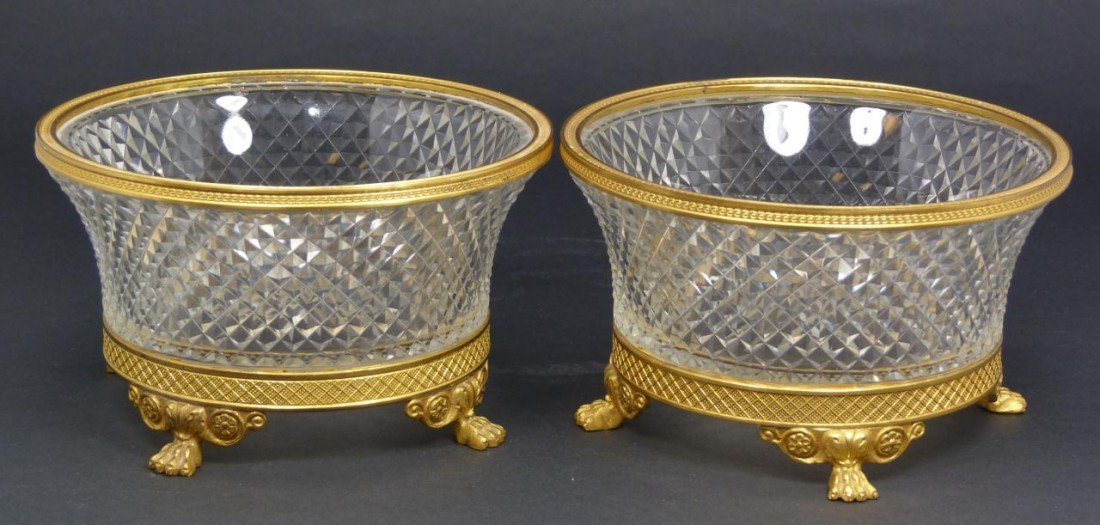 60: Pr OF FRENCH CUT CRYSTAL BOWLS w BRONZE MOUNTS