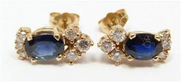 148: Pr 14K YELLOW GOLD DIAMOND & SAPPHIRE EARRINGS