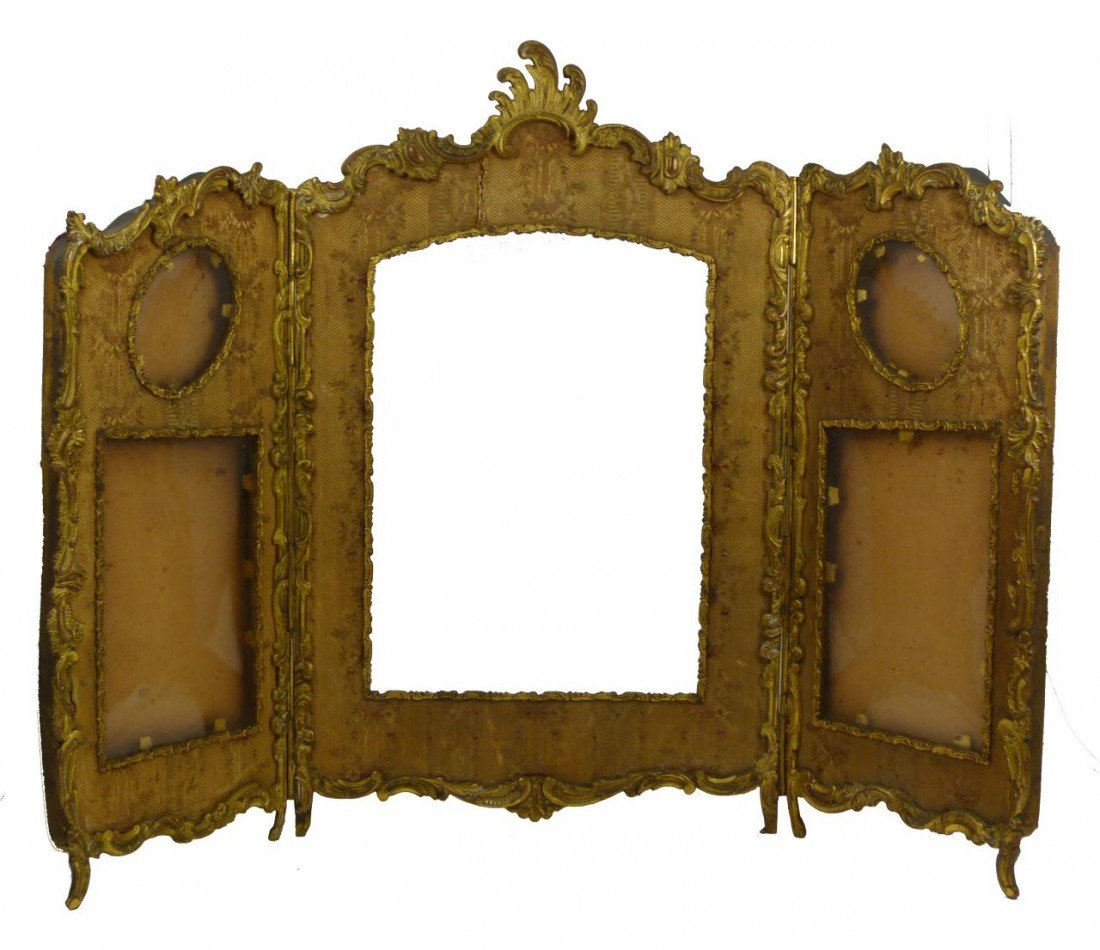 181: 19th C FRENCH BRONZE TRIFOLD PICTURE FRAME