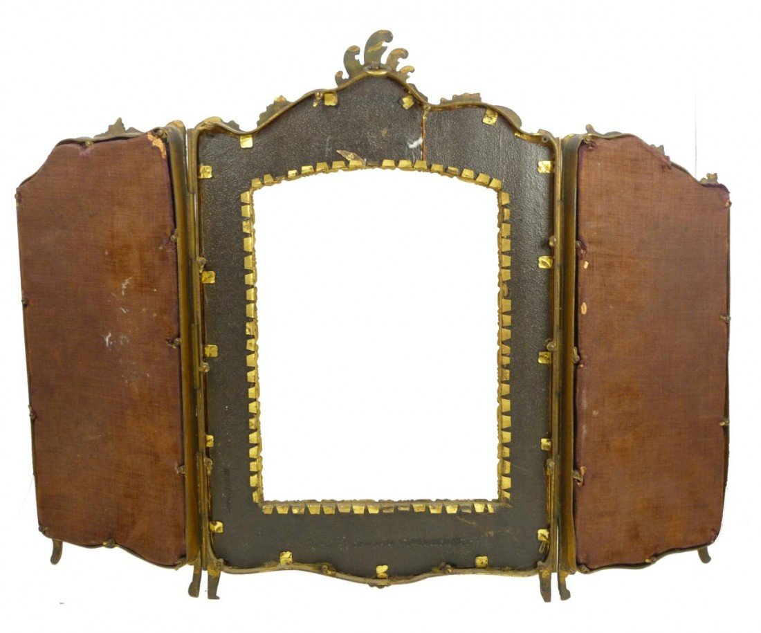 181: 19th C FRENCH BRONZE TRIFOLD PICTURE FRAME - 8