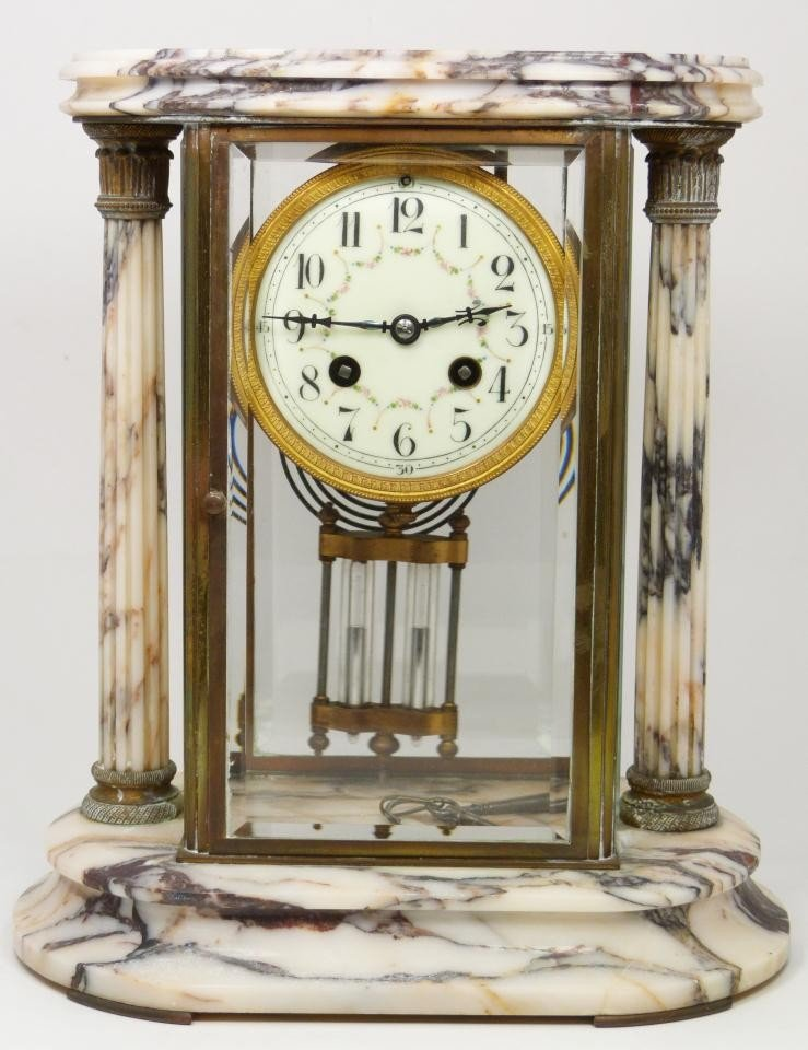 189: 19th CENTURY SAMUEL MARTI MARBLE REGULATOR CLOCK
