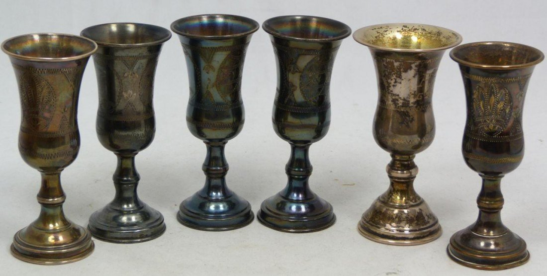 204: 6 ANTIQUE STERLING SILVER KIDDUSH CUPS - 2