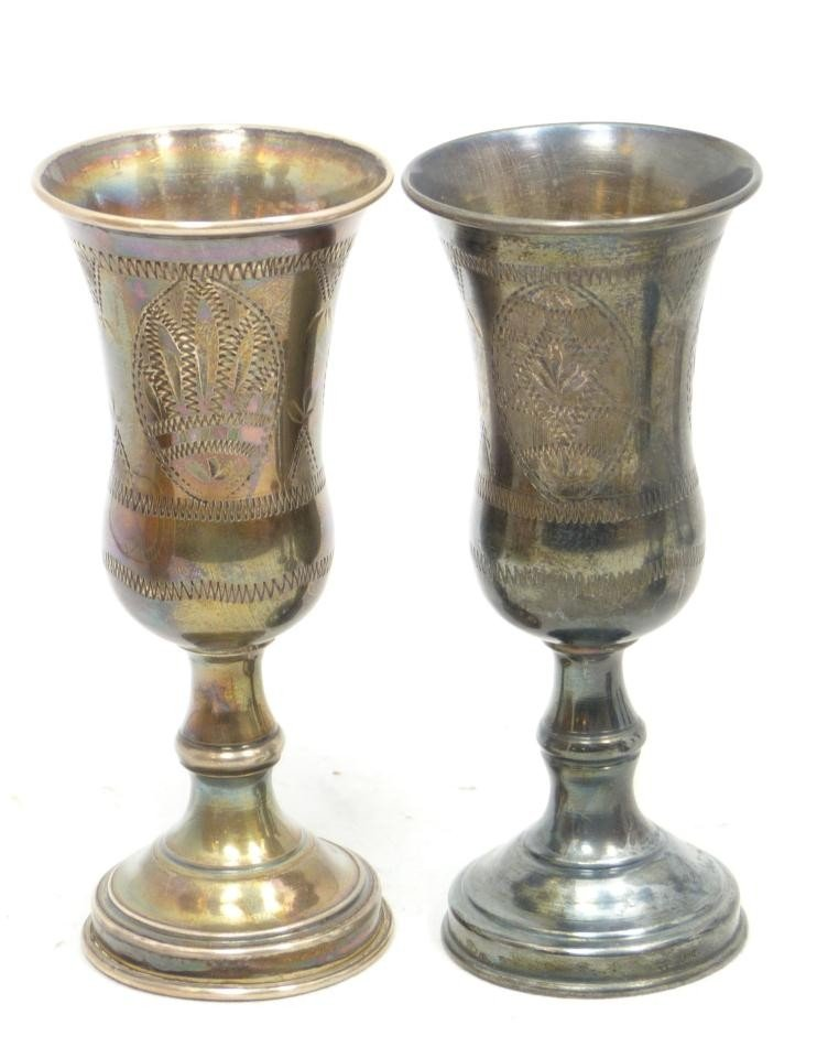 204: 6 ANTIQUE STERLING SILVER KIDDUSH CUPS - 3