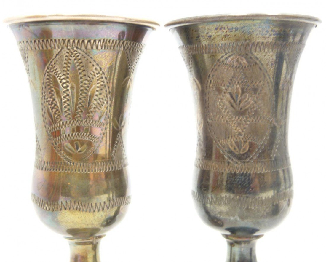 204: 6 ANTIQUE STERLING SILVER KIDDUSH CUPS - 4