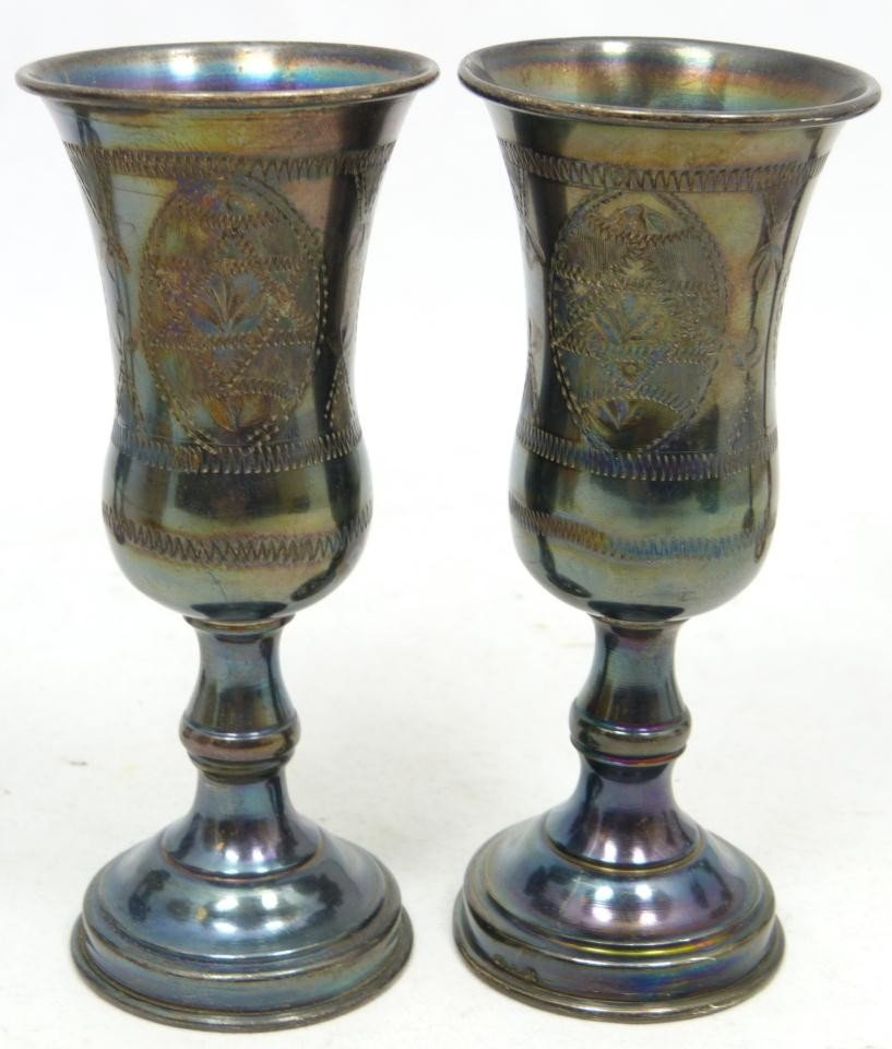 204: 6 ANTIQUE STERLING SILVER KIDDUSH CUPS - 5