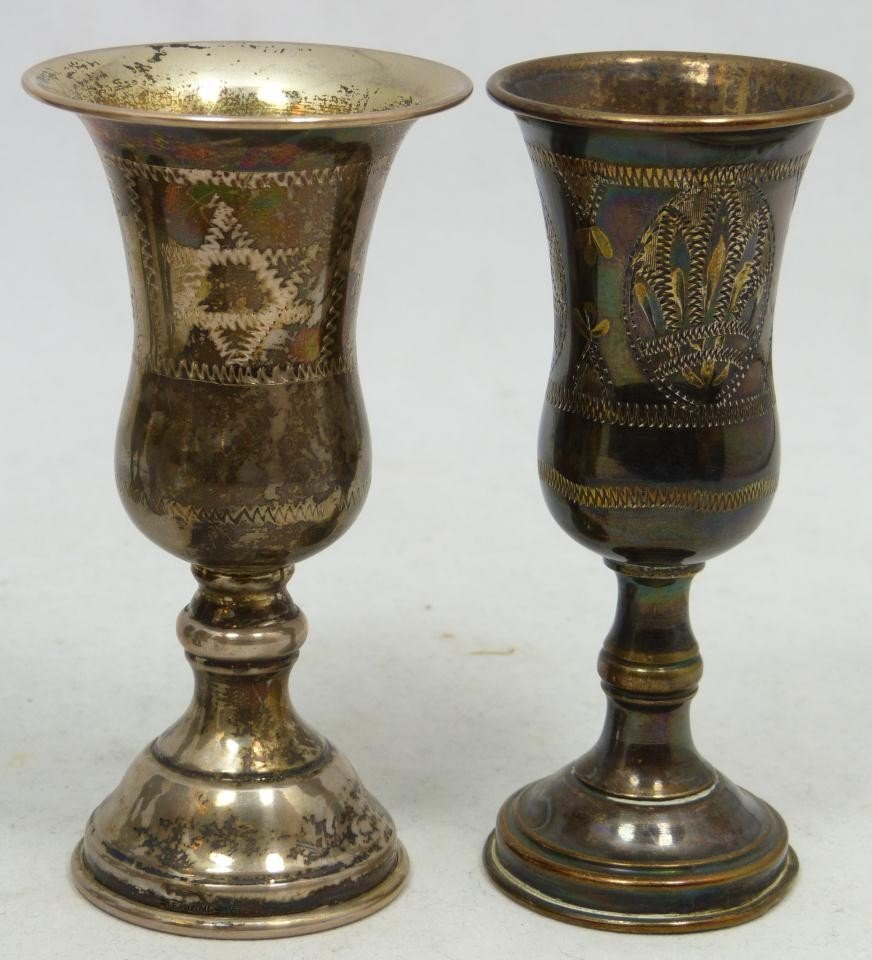 204: 6 ANTIQUE STERLING SILVER KIDDUSH CUPS - 7
