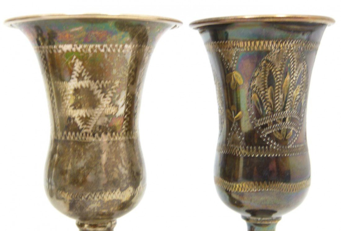 204: 6 ANTIQUE STERLING SILVER KIDDUSH CUPS - 8