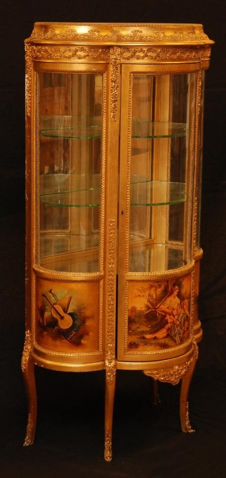 11: 19th C VERNIS MARTIN FRENCH GILDED CURIO CABINET