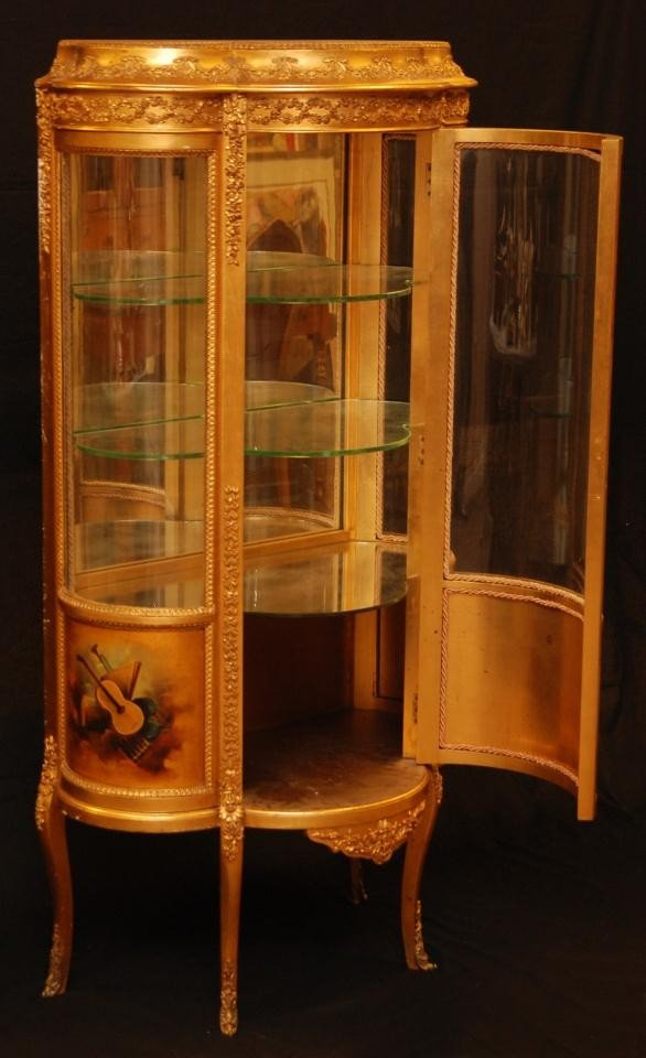11: 19th C VERNIS MARTIN FRENCH GILDED CURIO CABINET - 2