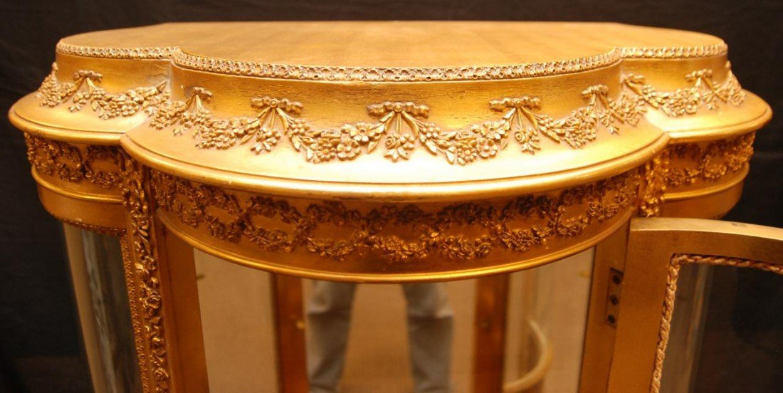 11: 19th C VERNIS MARTIN FRENCH GILDED CURIO CABINET - 4