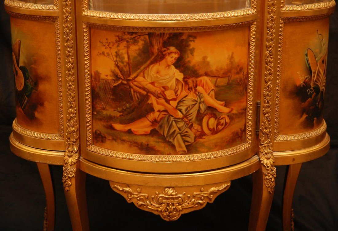 11: 19th C VERNIS MARTIN FRENCH GILDED CURIO CABINET - 6
