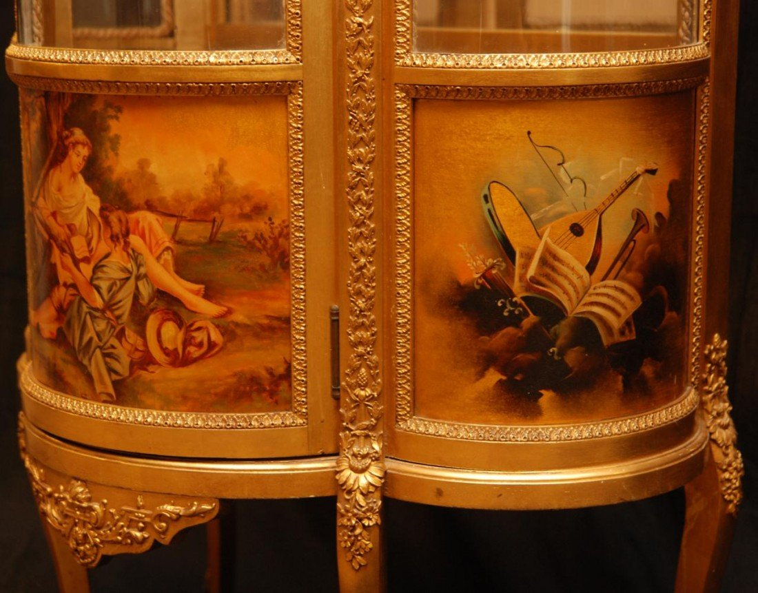11: 19th C VERNIS MARTIN FRENCH GILDED CURIO CABINET - 7
