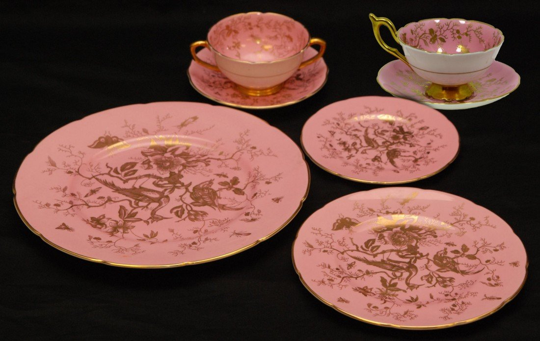 49: RARE 82pc COALPORT CAIRO GOLD OVER PINK CHINA SET