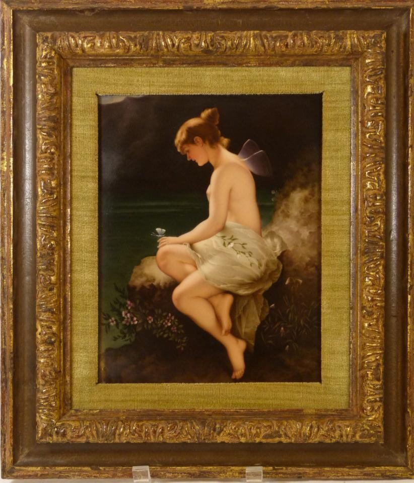 51: ANTIQUE BERLIN KPM PORCELAIN PLAQUE OF PSYCHE