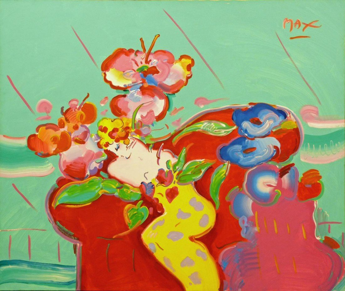 100: PETER MAX 1992 ACRYLIC ON CANVAS OF WOMAN