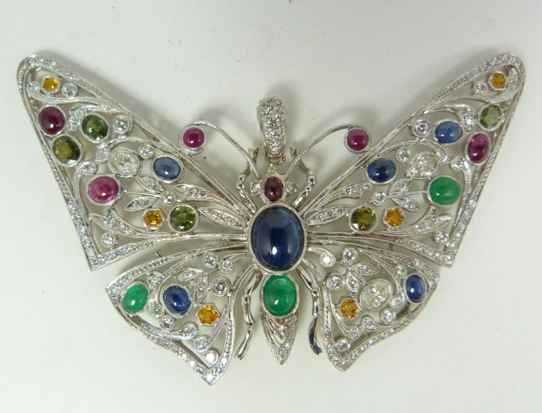 63: EXQUISITE 14K WG & PRECIOUS JEWEL BUTTERFLY BROOCH