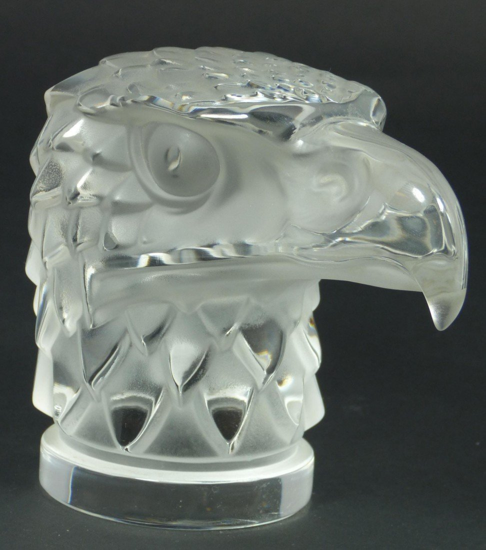 64: LALIQUE FRENCH CRYSTAL EAGLE HEAD MASCOT