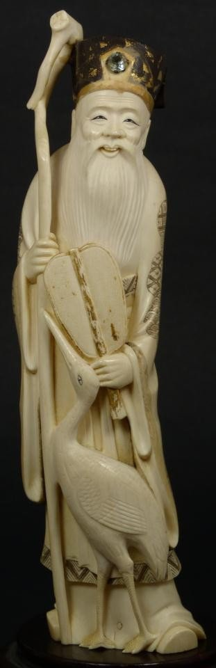 4: JAPANESE CARVED IVORY FIGURE OF WISEMAN w STORK