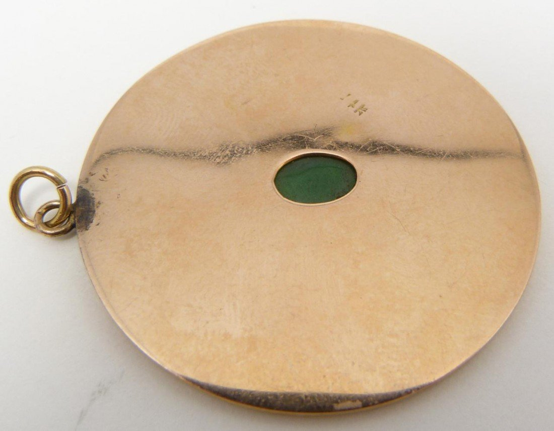 63: 14K YELLOW GOLD CHINESE COIN PENDANT w JADE - 4