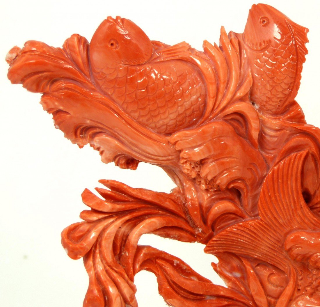 125: CHINESE HAND CARVED RED CORAL MERMAID FISH FIGURE - 3