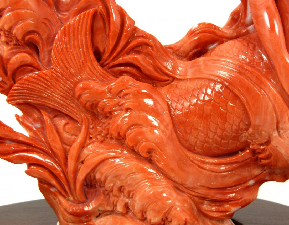 125: CHINESE HAND CARVED RED CORAL MERMAID FISH FIGURE - 4