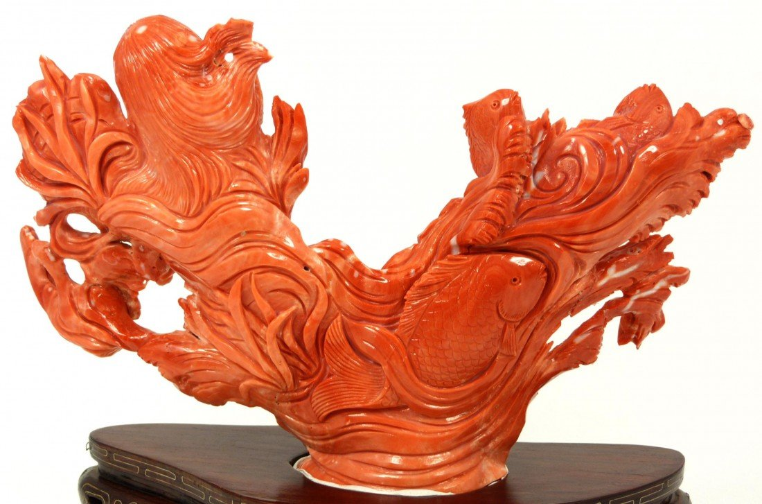 125: CHINESE HAND CARVED RED CORAL MERMAID FISH FIGURE - 5