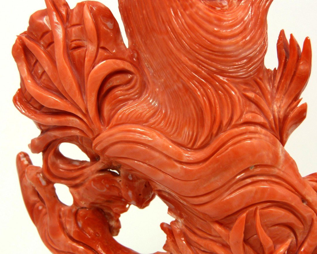 125: CHINESE HAND CARVED RED CORAL MERMAID FISH FIGURE - 7