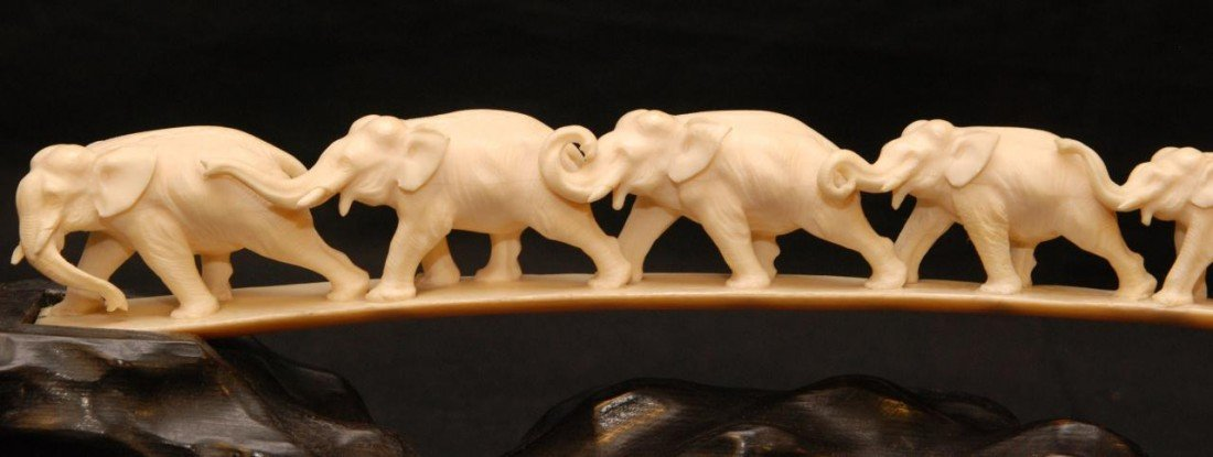 215: CHINESE HAND CARVED IVORY ELEPHANT BRIDGE - 2